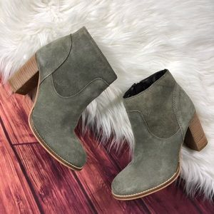 ASOS Green Suede Ankle Booties